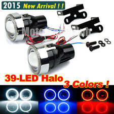 "3.0"" Universal LED Halogen Fog Lamp DRL Light Projector 39-LED Angel Eye Halo"