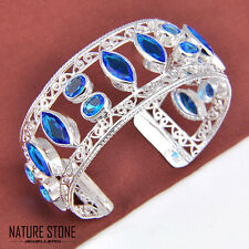 Woman Multi-Gems Charming Titanic Ocean Blue Topaz Gems Silver Bangle Bracelet