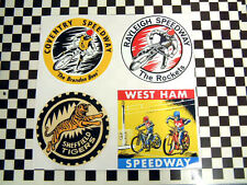 A set of 4 1960's vintage style classic speedway stickers - Jawa Helmet Racing