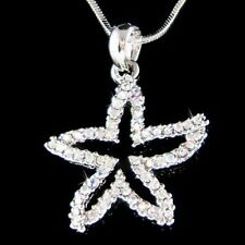 w Swarovski Crystal ~STARFISH Sea Ocean Star Fish Beach Wedding Pendant Necklace