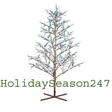 GE 8Ft LED Cool White Pre-Lit Brown Branch Tree Holiday Christmas Yard Display