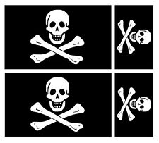 4 X JOLLY ROGER SKULL & CROSSBONES PIRATE FLAG VINYL CAR VAN IPAD LAPTOP STICKER