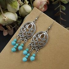 Tibet Silver Nepal Vintage Turquoise Beads Artificial Flower Dangle Earrings