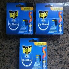 RAID FLY TRAP RIBBON 12 TRAPS FLIES GNATS MOTHS NO AROMA INDOOR OUTDOOR SAFE NEW