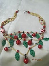 Vintage 1940's Wooden Beads Painted Cherries Fruit Necklace