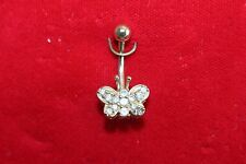 14K YELLOW GOLD BUTTERFLY BELLY NAVEL RING HANDMADE