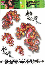 New Waterproof Colorful Removable Temporary Tattoo DIY 3D Dragon Sticker