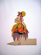 Vintage Art Deco Bridge Place Card Pretty Woman Carrying Pink & Orange Flowers*