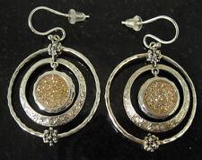 Designer Michael Dawkins Sterling Silver Starry Night Drusy Hoop Earrings