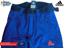 ADIDAS TEAM GB ISSUE - ELITE ATHLETE NAVY BLUE WINTER TECHNICAL SKI PANTS 32""
