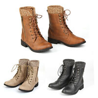 NEW WOMENS COMBAT ARMY MILITARY BIKER FLAT LACE UP WORK ANKLE BOOTS SIZE BLACK