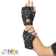 80s BLACK PUNK ROCKER GLOVES WITH STUDS - ladies womens fancy dress costume