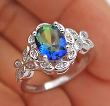 18K White Gold Filled - Oval Blue MYSTICAL Topaz Butterfly Cocktail Ring Size 8