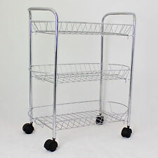 Storage Trolley Metal Multi Storage Kitchen Chrome 3 Tier Wheels Urban Home