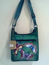 NEW Anuschka Hand Painted Leather Cross Body Bag w/Card Case, Summer Wings