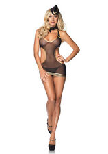 Leg Avenue 87033 4 Pc.Sexy Mesh Stewardess Lingerie Costume (Black;One Size)