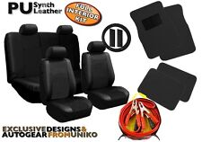Black PU Leather Seat Covers Floor Mats BONUS 200amp Booster Cable Included CS4