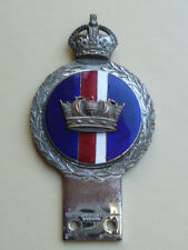 VINTAGE ORIGINAL  CAR BADGE / AUTO EMBLEM  ROYAL NAVY KINGS CROWN  J.R.GAUNT