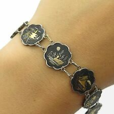 Antique Sterling Silver Japanese Damascene Komai Shakudo Link Bracelet 6.5""