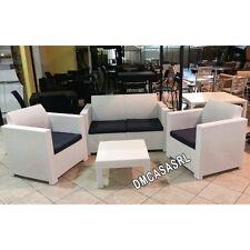 Salotto Colorado Keter divano + 2 poltrone + tavolino polyrattan esterno bianco