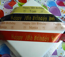 18TH BIRTHDAY PERSONALISED POLYESTER RIBBON 45mm cake decorations flowers etc
