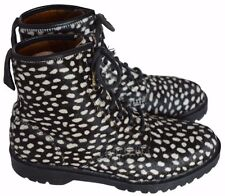 DR MARTENS DOC'S 14026 BROWN/WHITE LEATHER LEOPARD PRINT BOOTS - UK 8/US 9/EU 42