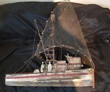 """CURTIS JERE (1975) """"Maria"""" wall sculpture fishing boat SIGNED"""