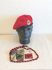 British Army Royal Military Police Beret, Badges, Brassard & Lanyard. Size 54cm.