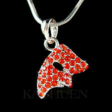 w Swarovski Crystal ~Red Phantom of the Opera Masquerade Mask Charm Necklace New