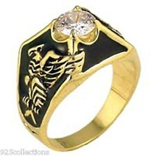 9 mm United States Eagle April Clear CZ Solitaire Birthstone Men Ring Size 15