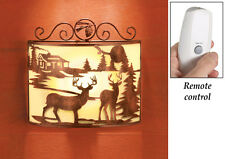 NEW REMOTE CONTROLLED DEER WALL SCONCE CABIN LODGE HALL STAIR NIGHT LIGHT