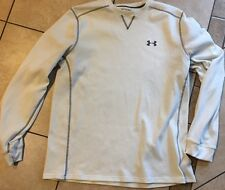 Men's Under Armour Waffle Crew Loose Cold Gear Long Sleeve White Shirt XL