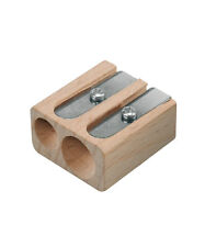 2 x LYRA DOUBLE HOLE NATURAL WOOD PENCIL SHARPENER - FITS  FERBY & GROOVE