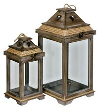 SET 2 Washed Solid Wood Pillar Candle Holder Lanterns NEW Nautical Rope Vintage