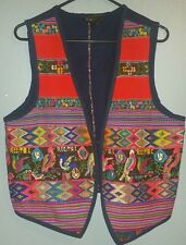 Vintage Guatemalan Ethnic Unisex Hippie Boho Multicolor Embroidered Vest