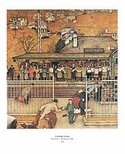 "Norman Rockwell train print: ""COMMUTERS"" Crestwood YONKERS Harlem subway 11""x15"""