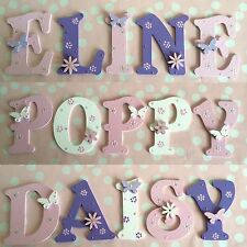 Personalised baby nursery cot bed room alphabet lettrage bleu rose lilas violet