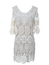 Women's S/M Fit Off-White Vintage-Inspired Daisy Lacey Design Mini Dress