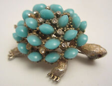 """Rare Cool 2-1/4"""" Signed HAR Gold Tone 3D Turquoise Bead Turtle Brooch Pin A17"""