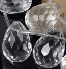 5 Clear Crystal Faceted Teardrop Focal Pendant Beads 25x18mm