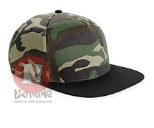 Beechfield camouflage cap snapback army military flat peak urban hip hop style