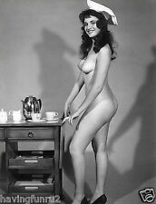 1960s Nude Pinup in chiefs hat pushing tea cart 8 x 10 Photograph