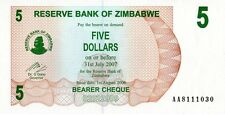 ZIMBABWE 2006 5 DOLLARS CURRENCY UNC