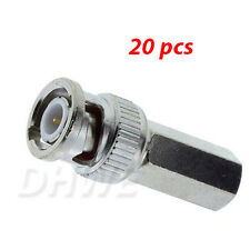 20 x BNC Twist Screw On Plug Male Connector for CCTV Security RG59 Coaxal Cable