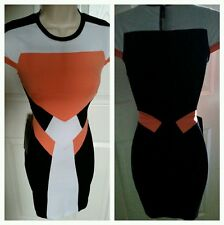 NWT BEBE  Colorblocked  DRESS SZ S It's SUMMER MSRP $150.00 Cocktail dress