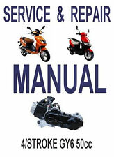 Chinese Scooter 50cc GY6 Service Repair Shop Manual on CD liquid Xinling Honglei