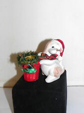 Estate=Adorable Tan & White Puppy Dog wear Christmas Stocking Cap Candle Holder