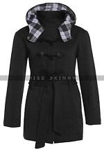 Ladies WOMENS BELTED Fleece Jacket BLACK / GREY Military HOODED COAT SIZE 16-28