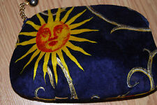 VTG ETRA navy blue velvet Sun gold Heart reticule evening bag clutch purse NEW
