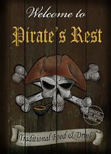 "PIRATES REST  ENGLISH PUB SIGN RUSTIC 8""X6"" METAL PLAQUE"